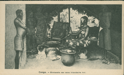 Binnenste van Eene Inlandsche Hut (Interior of a Native Hut)